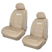 Jeep Elite Tan Synthetic Leather Car Truck Suv 2 Front Sideless Seat Covers Set