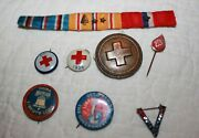 Large Lot Wwii And Earlier Presidential And Military Pins Dewey Wilkie Red Cross ++
