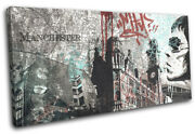 Manchester Abstract Grunge Collage City Single Canvas Wall Art Picture Print