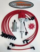 Mopar 1959-72 383 400 Red Small Cap Hei Distributor + 45k Can Coil + Plug Wires