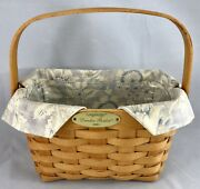 Longaberger 2001 Dresden Factory Tour Basket Plastic And Fabric Liner Swing Handle