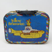 Vintage 1968 The Beatles Yellow Submarine Large Tin Tote Lunch Box No Cup
