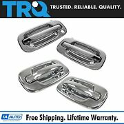 Trq 4 Piece Chrome Exterior Outside Door Handle Kit Set For Chevy Gmc Suv Truck