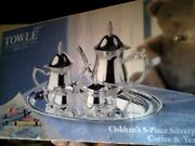 Towle Children's 5-piece Silverplate Coffee And Tea Set - Vintage 1990's