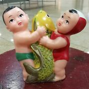 Vintage Red China Pv187 Rubber Squeeze Doll 抱鯉橡皮娃娃