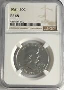 1961 P Ngc Pf68 Proof Ben Franklin Half Dollar 50c 90 Silver White Coins