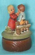 Vintage Music Box Of Couple Dancing By Fence - Made In Japan