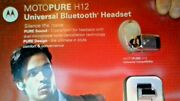 Motorola H12 Black Bluetooth Headset 2.0v With Charger Crystal And Car Charger Kit