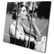 Woman Smoking Cigar Retro B And W Vintage Treble Canvas Wall Art Picture Print