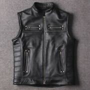 Mens Outdoor Punk Motorcycle Sleeveless Leather Jackets Vintage Old Vest Casual