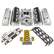 Chevy Sbc 350 Hyd Ft 190cc Straight Cylinder Head Top End Engine Combo Kit +mls