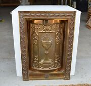 + Vintage In Wall Style Bronze Tabernacle With Key + Chalice Co. Ahb506