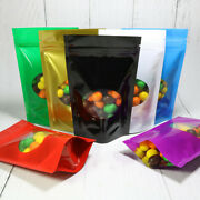 Resealable Mylar Aluminum Foil Stand Up Ziplock Bags With Window Food Pouches
