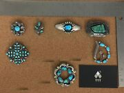 Vintage Native Turquoise Sterling Silver Brooch Lot 1 - Individually On Req.