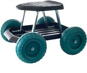 Rolling Garden Scooter Cart Stool Wheeled Work Painting Seat W/ Tool Tray Chair