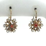 Victorian 10k Gold Glass Paste Flower Snowflake Front Closure Leverback Earrings
