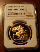 Great Britain 1992 Gold 5 Pounds Ngc Pf68uc Mintage - 1250