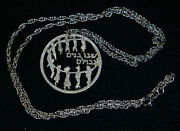 Israel Silver Children Holding Hands Medal W/ Sterling Chain 24in Necklace