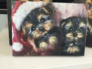 Yorkie Puppies Printed Canvas Wrapped Xmas Picture From Original