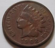 1902 United States Indian Head Small Cent Coin.ef Nice Grade Rj257