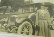 Antique Model T Car And Woman 1920 Albumen Photo Ny Plate 4 1/4x 2 1/2 Mb168 Auto