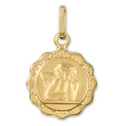 14k Yellow Gold Guardian Angel Medallion Coin Pendant Protection Cherub Necklace