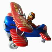 Hand-made Vintage Tin Looping Plane Wind-up Plane Adult Collection Decoration