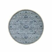 10and039x10and039 Silver Heris Design Wool And Silk Hi-lo Pile Hand-knotted Rug R44910