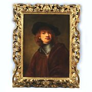 After Rembrandt Self Portrait As Young Man Antique 19th C Oil Canvas Painting