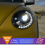 For Volkswagen Beetle Headlight Single Lens Beam Projector Hid Led Drl 2013-2019