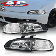 Jdm 1pc Black Clear Replacement Head Lights Lamps For 1992-1995 Honda Civic 4dr