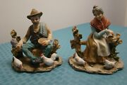 Vtg Pair Old Man And Woman Porcelain Figurines Inarco Japan