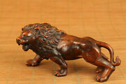 Rare Fine Chinese Old Boxwood Hand Carved Lion Statue Netsuke