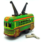 New Hand-made Double Bar Tram Wind-up Tin Toy Adult Collection Bar Decoration