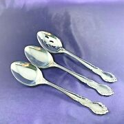 Reed And Barton Flambeau Stainless Tablespoon Serving 8 3/8 Set Of 3