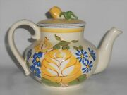 Red Wing Pottery Brittany Floral Decorated Teapot W/lid