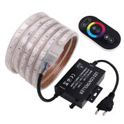 220v Led Strip 5050 Rgb Waterproof Commercial Rope Lamp Eu Plug + Touch Remote