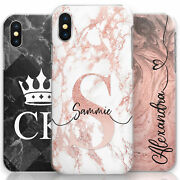 Personalised Pink Marble Phone Case Hard Cover Customised With Initials/name