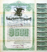 C 1898 United States Oil Company 500 Gold Bond Certificate - Coupons Attached