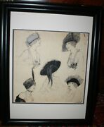 Helen Dryden Origional Black And White Watercolor Women With Hats About 1910 3