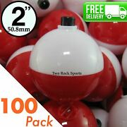 100-pack - 2 Inch Round - Red And White Bobbers - Snap-on Fishing Floats Tackle