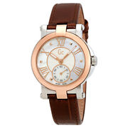 Guess Gc Demoiselle,silver+rose Gold 2 Tone,croc Brown Leather Watch X50004l1s