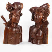 Man Woman Wooden Figurines Balinese Hand Crafted Wedding Klungkung Style