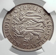 1938 Cyprus Uk King George Vi Genuine Antique Silver 18 Piastres Coin Ngc I79887