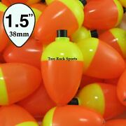 3-250 Bulk Pack - 1.5 Inch 38mm Pear Fishing Bobbers Floats - Orange And Yellow