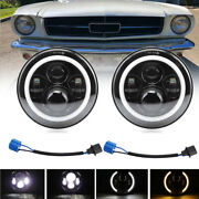 For Ford Mustang 1965-1978 7 Inch Black Led Headlight Halo Angel Eye Ring Pair