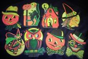 Old Beistle Embossed Halloween Die Cuts Witch Cats Pumpkins Owls Houses Boxed 32