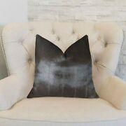 Plutus Tip Dyed Brown-mink Handmade Throw Pillow, Double Sided 22 X 22