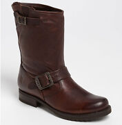 New Frye Womens Veronica Short Dark Brown Leather Pull-on Boots Size Us 7 B 298