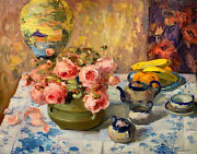 Franz Bischoff Roses On A Tea Table Canvas Print 16 X 20  4370